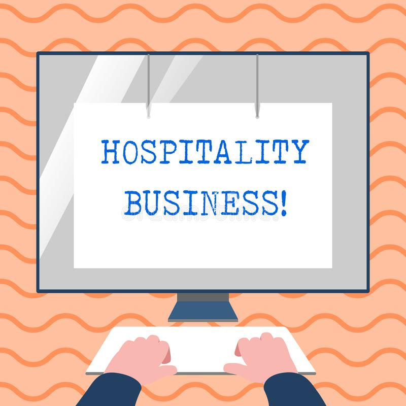 Word writing text Hospitality Business. Business concept for broad category of fields within service industry Hands on. Word writing text Hospitality Business stock illustration