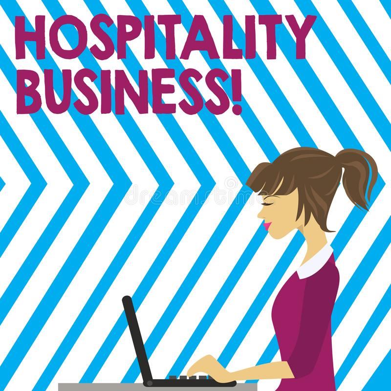 Word writing text Hospitality Business. Business concept for broad category of fields within service industry photo of. Word writing text Hospitality Business stock illustration
