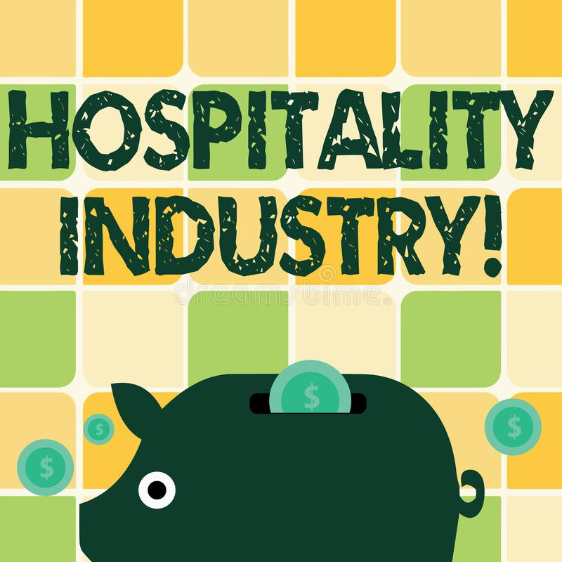Word writing text Hospitality Industry. Business concept for focus on the hotel and accommodation industry Colorful. Word writing text Hospitality Industry stock illustration