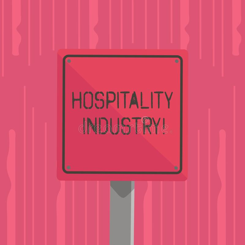 Word writing text Hospitality Industry. Business concept for focus on the hotel and accommodation industry 3D Square. Word writing text Hospitality Industry vector illustration