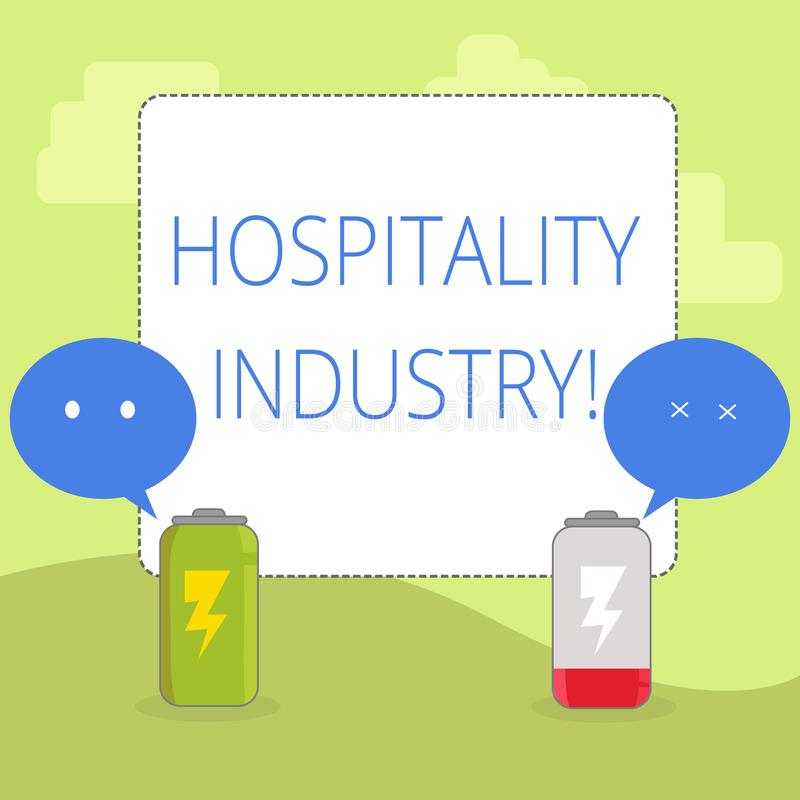 Word writing text Hospitality Industry. Business concept for focus on the hotel and accommodation industry Fully Charged. Word writing text Hospitality Industry stock illustration