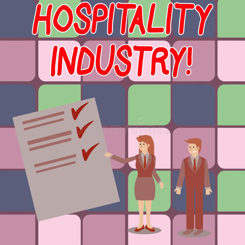 Word writing text Hospitality Industry. Business concept for focus on the hotel and accommodation industry Man and Woman. Word writing text Hospitality Industry stock illustration