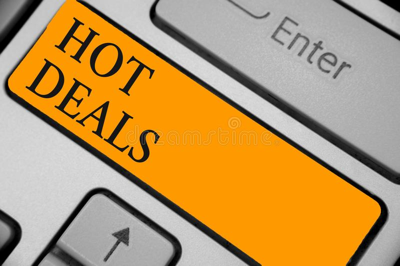 Word writing text Hot Deals. Business concept for An agreement through which one of the paties is offered and accept Keyboard oran. Ge key Intention create royalty free stock image