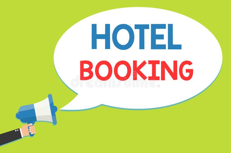 Word writing text Hotel Booking. Business concept for Online Reservations Presidential Suite De Luxe Hospitality Man. Holding megaphone loudspeaker speech stock illustration