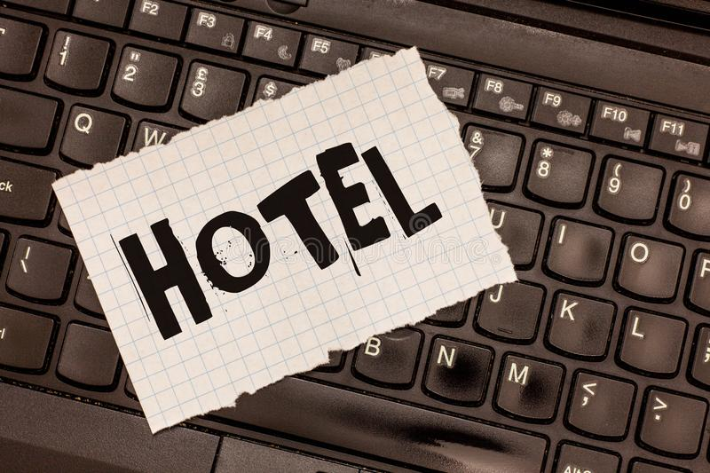 Word writing text Hotel. Business concept for establishment providing accommodation meals services for travellers.  royalty free stock images