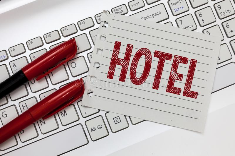 Word writing text Hotel. Business concept for establishment providing accommodation meals services for travellers.  stock photography