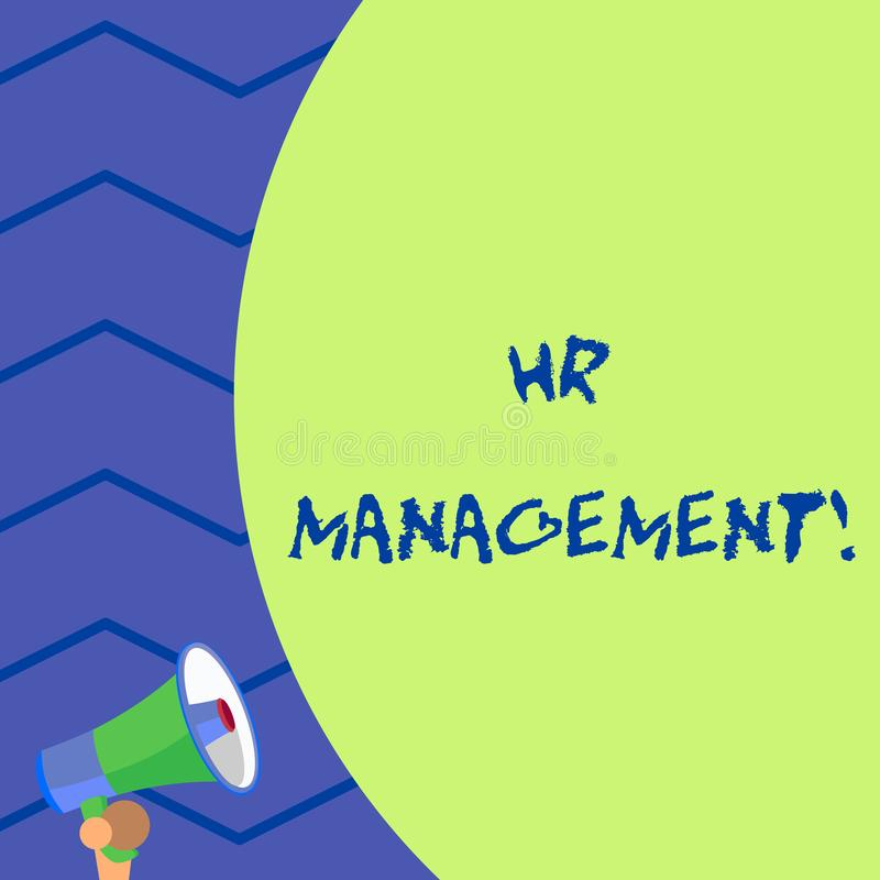 Word writing text Hr Management. Business concept for strategic approach to the effective analysisagement of showing Old. Word writing text Hr Management stock illustration