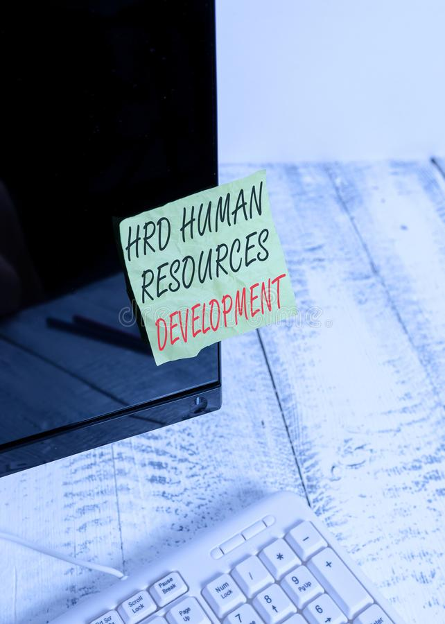 Word writing text Hrd Huanalysis Resources Development. Business concept for helping employees develop demonstratingal. Word writing text Hrd Huanalysis royalty free stock photos