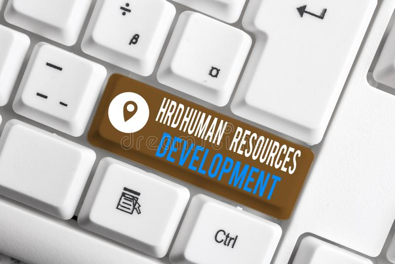 Word writing text Hrd Huanalysis Resources Development. Business concept for helping employees develop demonstratingal. Word writing text Hrd Huanalysis stock photo