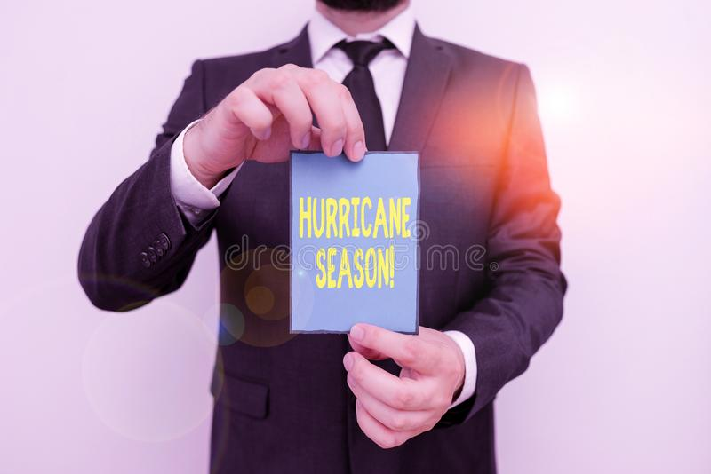 Word writing text Hurricane Season. Business concept for time when most tropical cyclones are expected to develop Male. Word writing text Hurricane Season royalty free stock images