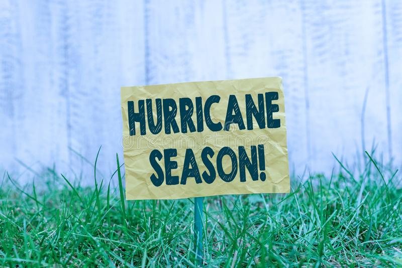 Word writing text Hurricane Season. Business concept for time when most tropical cyclones are expected to develop Plain. Word writing text Hurricane Season stock photography