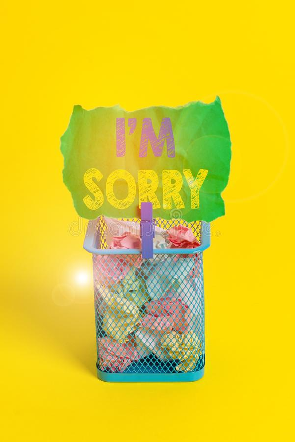 Word writing text I M Sorry. Business concept for Toask for forgiveness to someone you unintensionaly hurt Trash bin. Word writing text I M Sorry. Business photo stock photos
