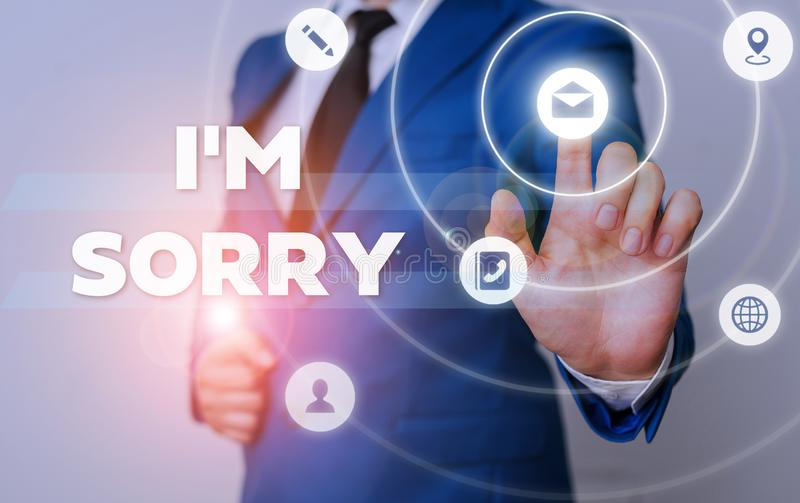 Word writing text I M Sorry. Business concept for Toask for forgiveness to someone you unintensionaly hurt. Word writing text I M Sorry. Business photo royalty free stock photos