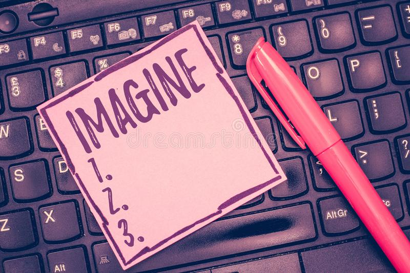 Word writing text Imagine. Business concept for Form mental image or concept Suppose Assume Dream Inspiration.  royalty free stock images