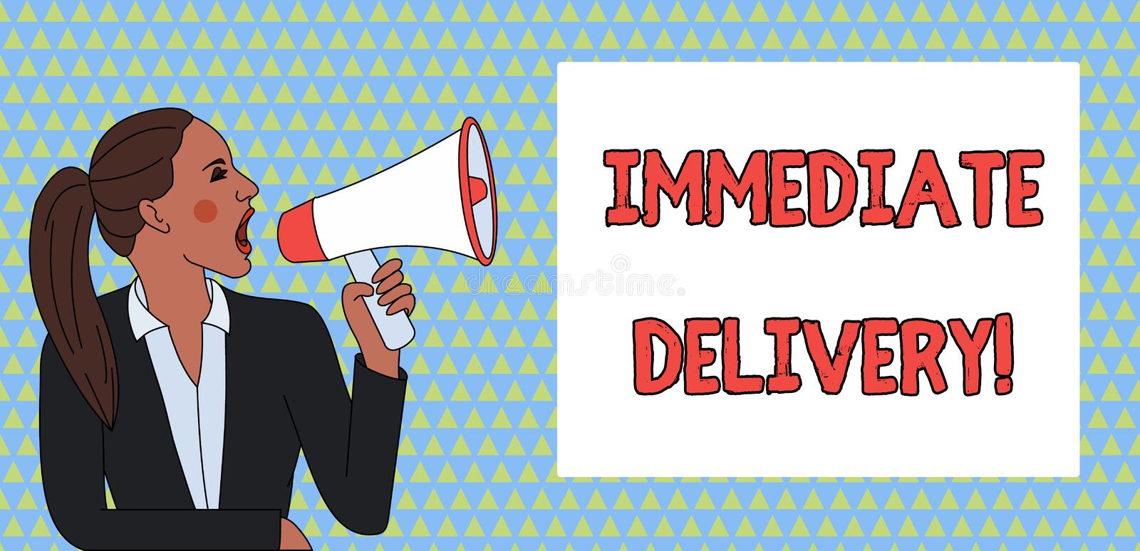 Word writing text Immediate Delivery. Business concept for Send it Now Custom Procedure to dispose Promptly Young Woman royalty free illustration