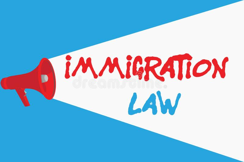 Word writing text Immigration Law. Business concept for Emigration of a citizen shall be lawful in making of travel.  royalty free illustration