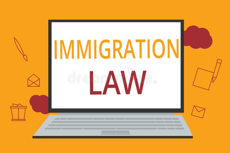 Word writing text Immigration Law. Business concept for Emigration of a citizen shall be lawful in making of travel.  vector illustration