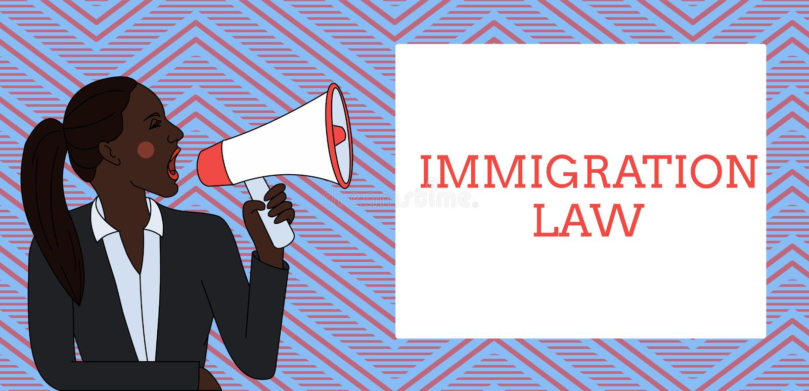 Word writing text Immigration Law. Business concept for Emigration of a citizen shall be lawful in making of travel. Word writing text Immigration Law. Business stock illustration