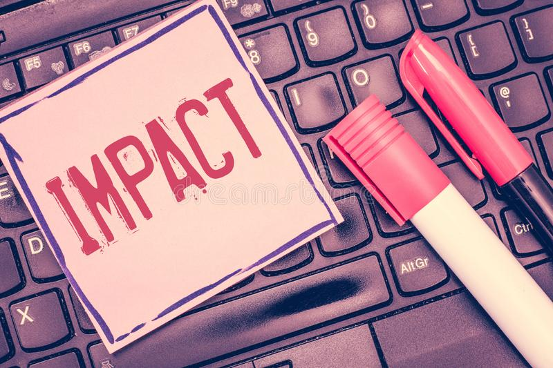 Word writing text Impact. Business concept for action of one object coming forcibly into contact with another.  stock images