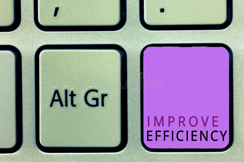 Word writing text Improve Efficiency. Business concept for Competency in performance with Least Waste of Effort.  stock photography