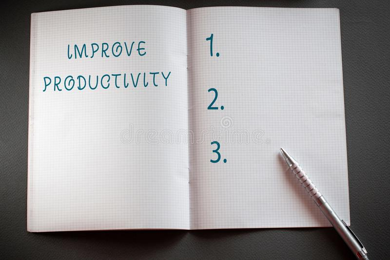 Word writing text Improve Productivity. Business concept for to increase the machine and process efficiency Checkered. Word writing text Improve Productivity stock photography