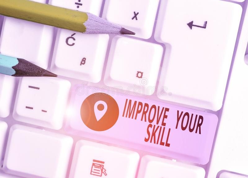 Word writing text Improve Your Skill. Business concept for Unlock Potentials from Very Good to Excellent to Mastery. Word writing text Improve Your Skill royalty free stock image
