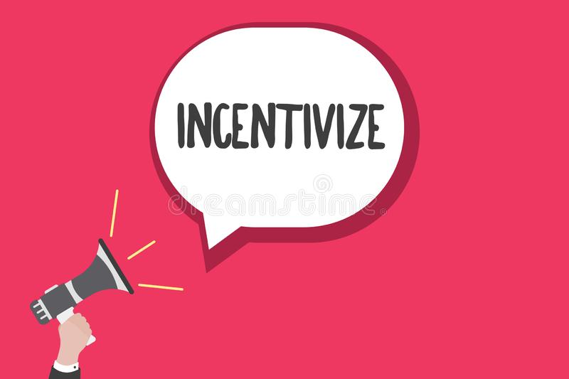 Word writing text Incentivize. Business concept for Motivate or encourage someone to do something Provide incentive.  vector illustration