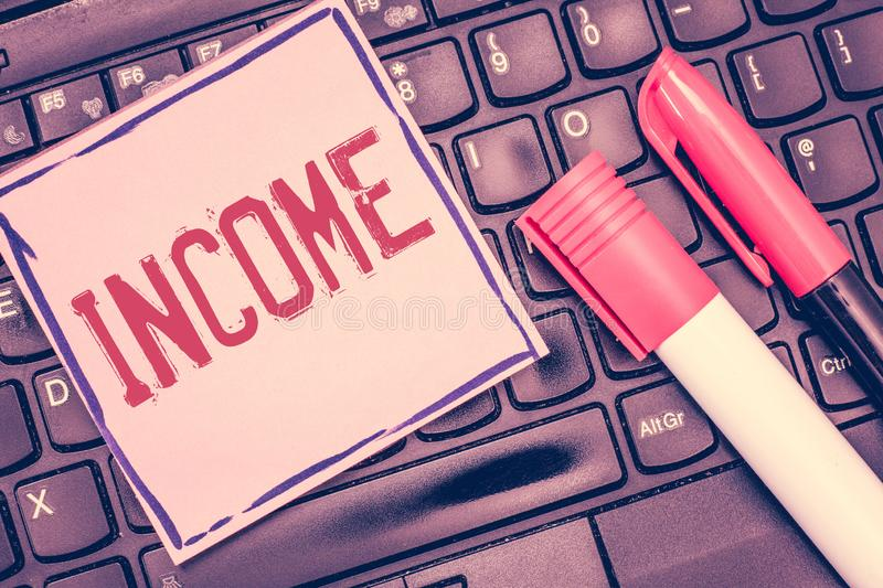 Word writing text Income. Business concept for money received especially on regular basis for work or investments.  stock image