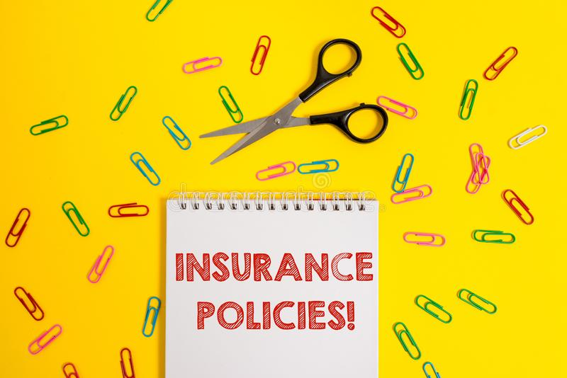 Word writing text Insurance Policies. Business concept for Documented Standard Form Contract Financial Reimbursement. Word writing text Insurance Policies royalty free stock images