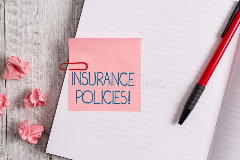 Word writing text Insurance Policies. Business concept for Documented Standard Form Contract Financial Reimbursement. Word writing text Insurance Policies stock photography