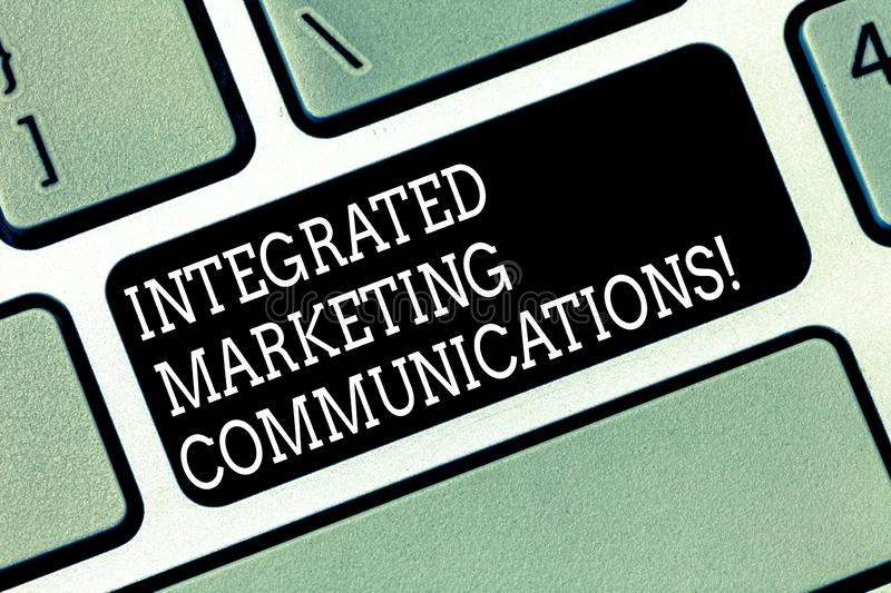 Word writing text Integrated Marketing Communications. Business concept for Linked all forms or communication Keyboard. Key Intention to create computer message stock photography