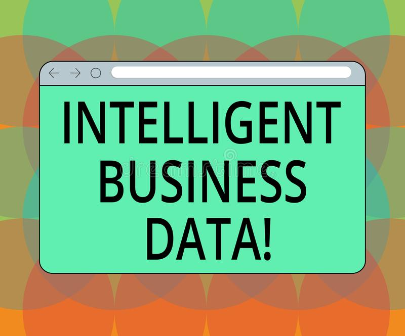 Word writing text Intelligent Business Data. Business concept for use of internal data to analyze the operations Monitor Screen. With Forward Backward Progress royalty free illustration