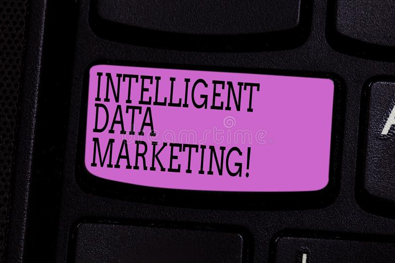 Word writing text Intelligent Data Marketing. Business concept for Information relevant to a target account s is market. Keyboard key Intention to create royalty free stock images