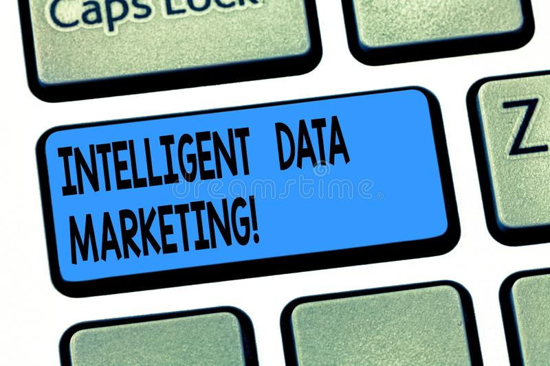 Word writing text Intelligent Data Marketing. Business concept for Information relevant to a target account s is market. Keyboard key Intention to create royalty free stock photo