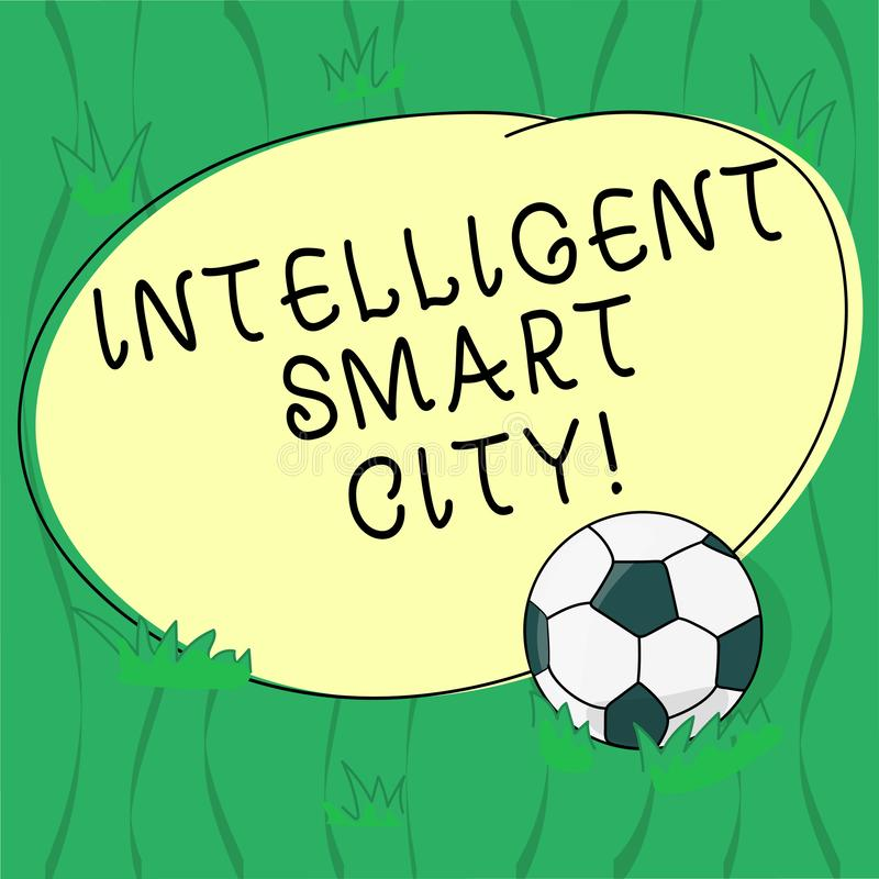 Word writing text Intelligent Smart City. Business concept for The city that has a smarter energy infrastructure Soccer royalty free illustration