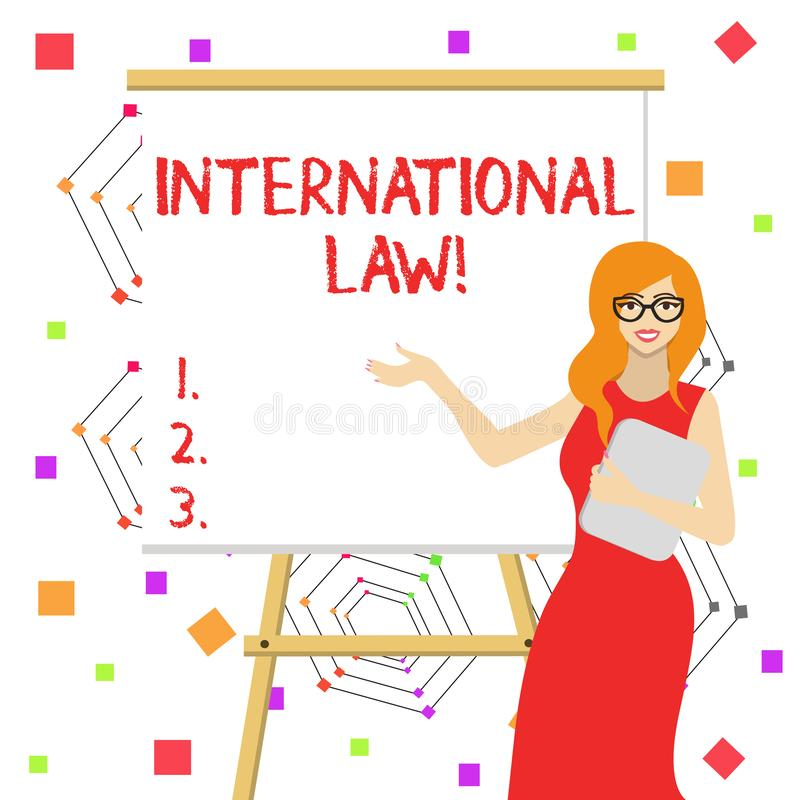 Word writing text International Law. Business concept for system of treaties and agreements between nations White Female. Word writing text International Law royalty free illustration