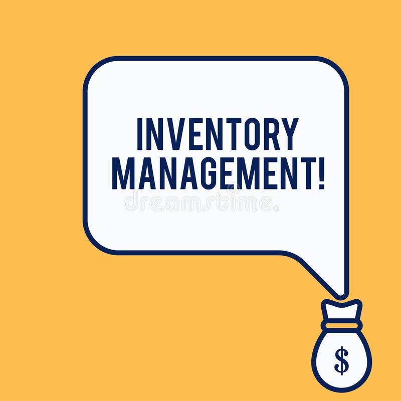 Word writing text Inventory Management. Business concept for Overseeing Controlling Storage of Stocks and Prices. Word writing text Inventory Management vector illustration