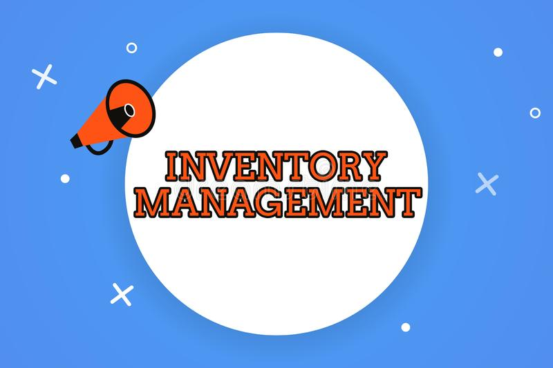 Word writing text Inventory Management. Business concept for Overseeing Controlling Storage of Stocks and Prices.  royalty free illustration