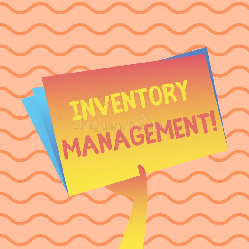 Word writing text Inventory Management. Business concept for supervision of noncapitalized assets and stock items Hand. Word writing text Inventory Management royalty free illustration