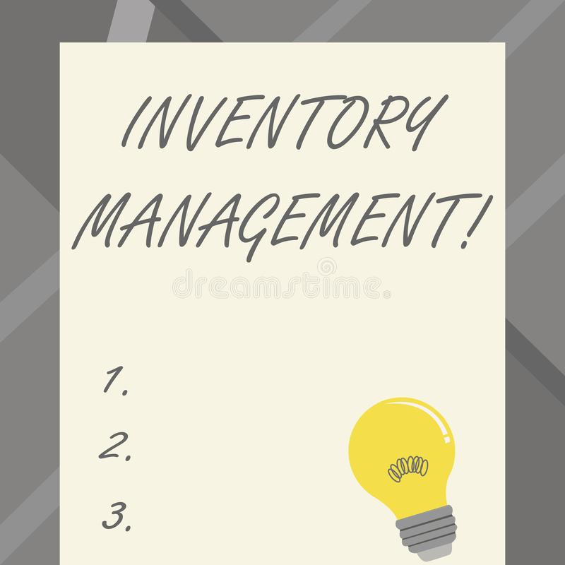 Word writing text Inventory Management. Business concept for supervision of noncapitalized assets and stock items. Word writing text Inventory Management stock illustration