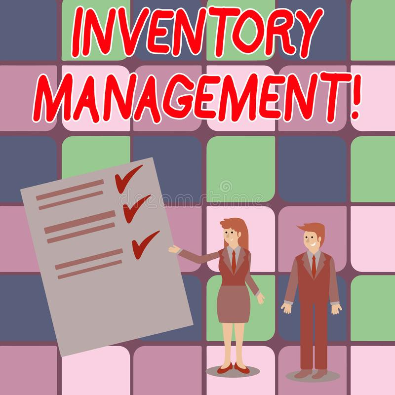 Word writing text Inventory Management. Business concept for supervision of noncapitalized assets and stock items Man. Word writing text Inventory Management vector illustration