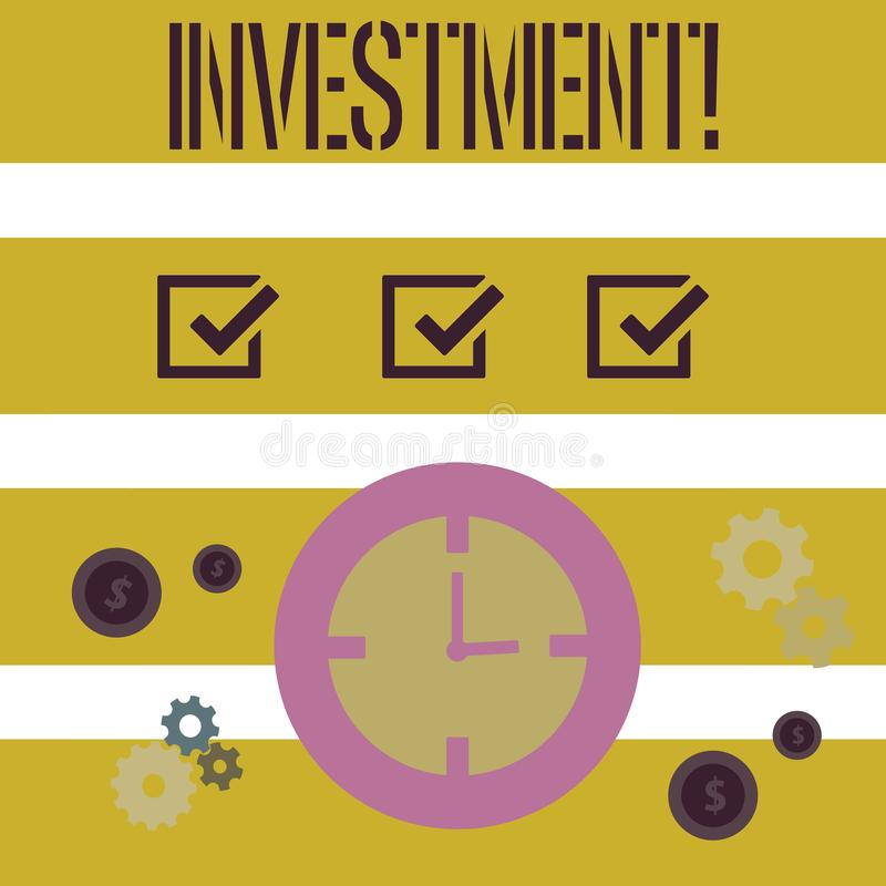Word writing text Investment. Business concept for To put Money Time into something to make profit. Word writing text Investment. Business concept for To put vector illustration