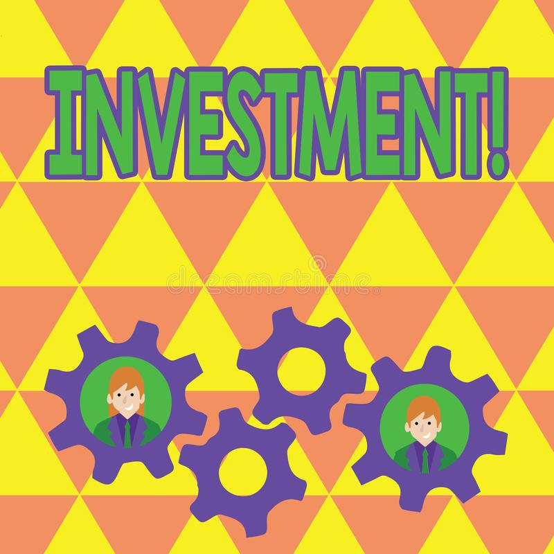 Word writing text Investment. Business concept for To put Money Time into something to make profit. Word writing text Investment. Business concept for To put stock illustration
