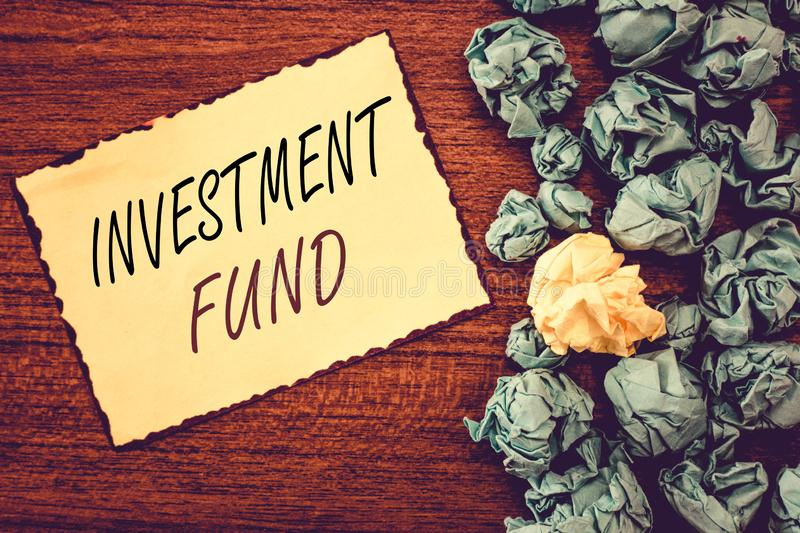 Word writing text Investment Fund. Business concept for A supply of capital belonging to numerous investors royalty free stock photo