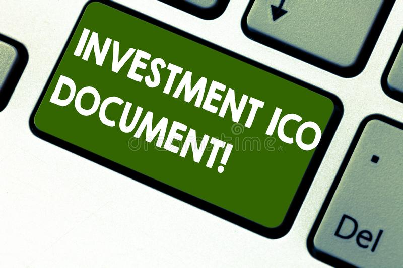 Word writing text Investment Ico Document. Business concept for Files that states the skill behind a blockchain Keyboard. Key Intention to create computer royalty free stock images