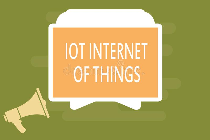 Word writing text Iot Internet Of Things. Business concept for Network of Physical Devices send and receive Data.  stock illustration