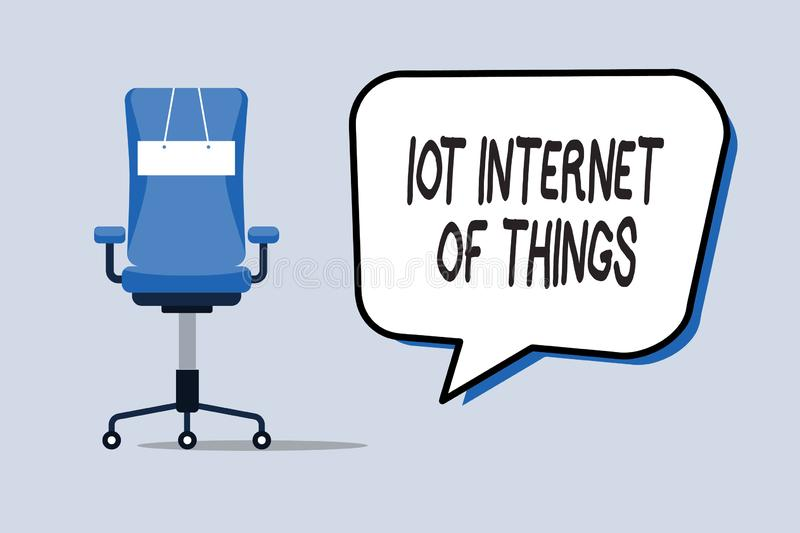 Word writing text Iot Internet Of Things. Business concept for Network of Physical Devices send and receive Data.  royalty free illustration