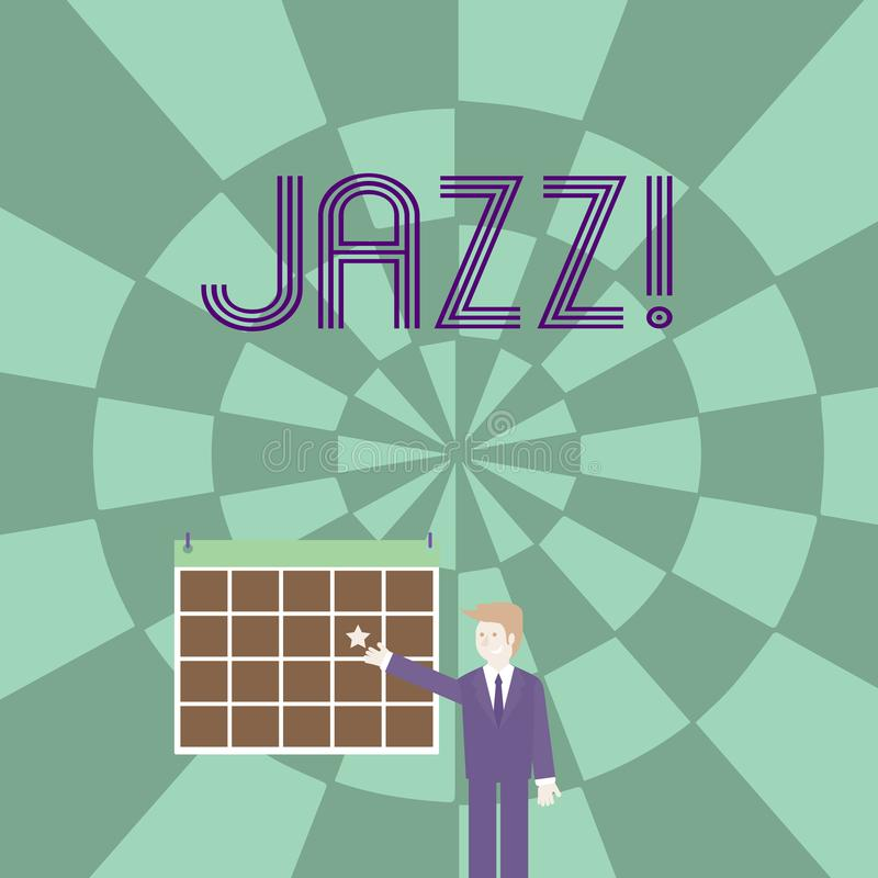 Word writing text Jazz. Business concept for Type of music of black American origin Musical genre Strong rhythm. Word writing text Jazz. Business photo royalty free illustration