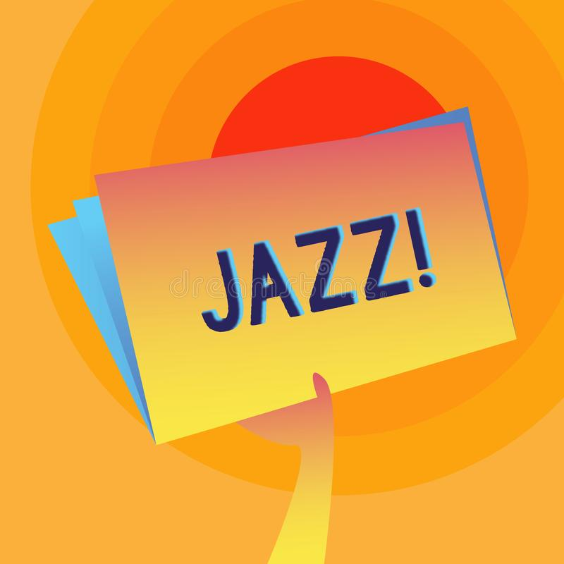Word writing text Jazz. Business concept for Type of music of black American origin Musical genre Strong rhythm Hand. Word writing text Jazz. Business photo royalty free illustration