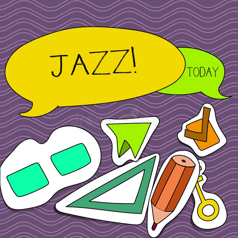 Word writing text Jazz. Business concept for Type of music of black American origin Musical genre Strong rhythm Two. Word writing text Jazz. Business photo vector illustration